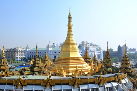 fascinate: Sule pagoda is also a big rotary, located in the heart of Yangon city, Myanmar  Burma  Stock Photo