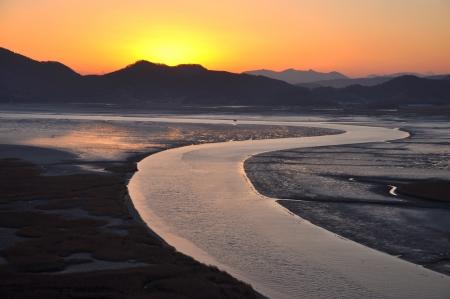 rock salt: Suncheon bay in Suncheon city, South Korea in sunset Stock Photo