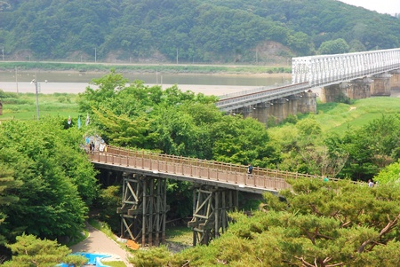 north korea: Freedom bridge DMZ, Korea  The Bridge of Freedom got its name when 13,000 war prisoners shouted  Hurray Freedom   as they returned home crossing the bridge following the Armistice Agreement in 1953  The bridge was blocked at the end where you can see the  Stock Photo