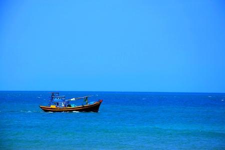 fishing ship: Fishing ship on Mui Ne bay, Vietnam Stock Photo