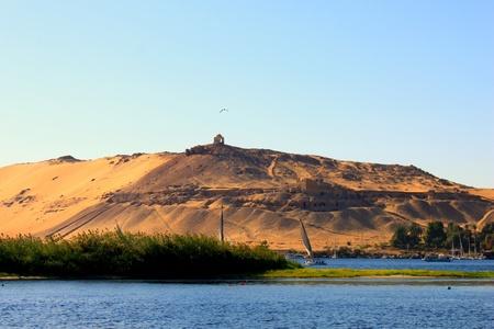nile river: Sailboats sliding on Nile river Stock Photo