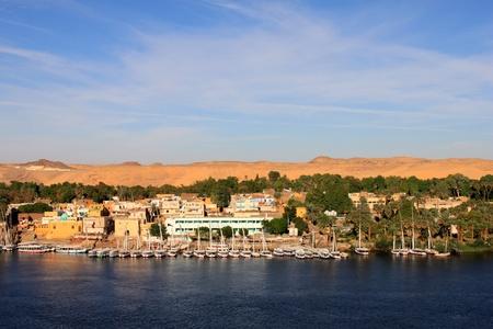 furled: Sailboats sliding on Nile river Stock Photo