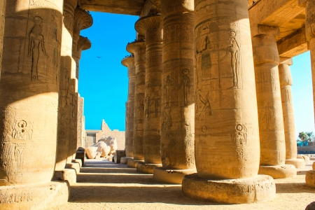 valley of the temples: Ramesseum temple, Egypt  The Ramesseum is the memorial temple  of Pharaoh Ramesses II in the West Bank of Luxor city, Egypt