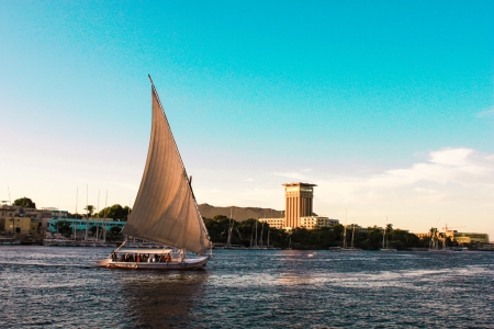 cairo: Sailboats sliding on Nile river  Felluca  traditional boat  of Egypt in Aswan s sunset