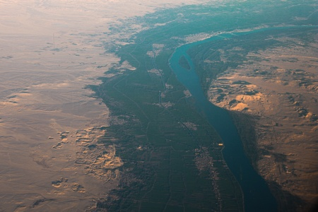 east river: Aerial view of Egypt desert  Desert and Nile river view from the sky