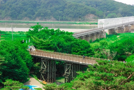 Freedom bridge DMZ, Korea  The Bridge of Freedom got its name when 13,000 war prisoners shouted  Hurray Freedom   as they returned home crossing the bridge following the Armistice Agreement in 1953  The bridge was blocked at the end