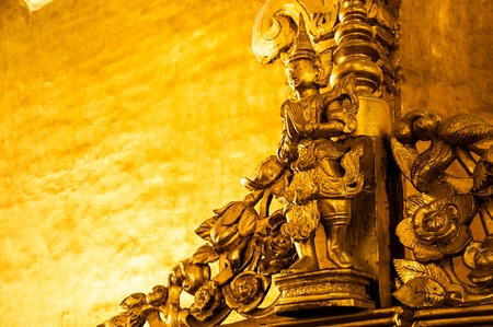 sculpt: Golden Buddhist carving, Myanmar  Myanmar  Burma  is the most religious Buddhist country in terms of the proportion of monks in the population and proportion of income spent on religion  Stock Photo