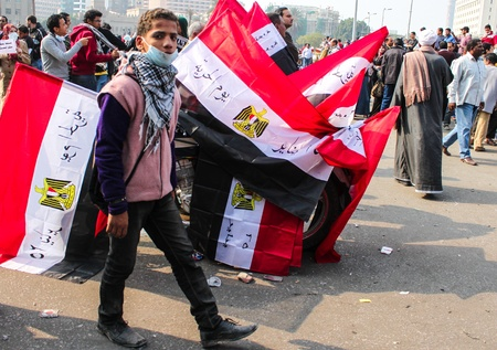 CAIRO, NOV 22, 2011-Thousands of Islamist protesters flocked to Cairo s Tahrir Square, Egypt  People were reported dead and injured because of tear gas, rubber bullets of riot police
