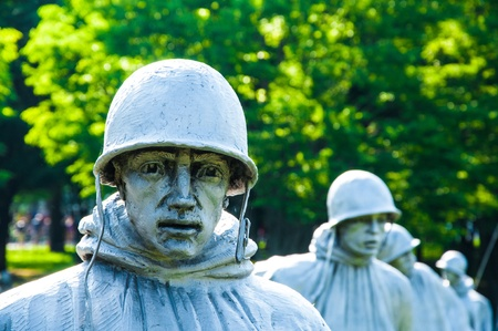 u s: Bronze Soldiers on Patrol at Korean War Memorial, Washington Mall, Washington DC