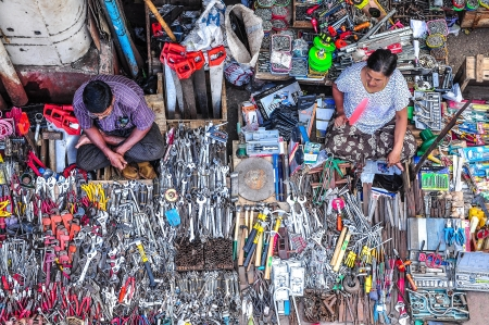 YANGON, MYANMAR - MAR 4- Vendors are selling Mechanic s tool kit on the sidewalk of Yangon city, Myanmar  or Burma  on Mar 4, 2013