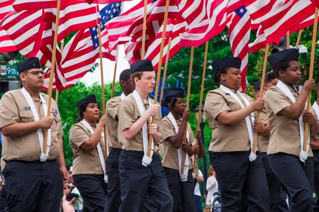 WASHINGTON, D C  - MAY 27, 2013  Participants of Memorial Day Parade move on the street on May 27, 2013, in Washington, D C