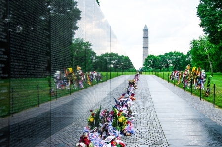 name day: People visit and lay flowers at the Vietnam Veterans Memorial on May 27, 2013, in Washington, D C, USA