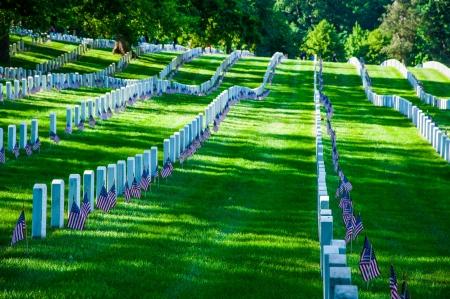 WASHINGTON, D C  - MAY 27, 2013  Arlington Cemetery on Memorial Day on May 27, 2013, in Washington, D C