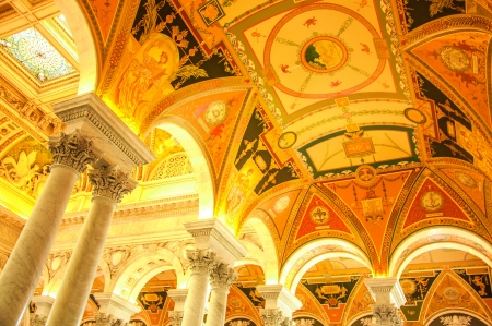 Located in front of US Capitol, Library of Congress is a famous tourist place in the center of Washington DC, USA