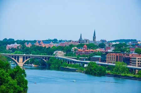 Washington DC by the Potomac river, elevated view of Washington DC by the Potomac river  In the picture are Key bridge, and Georgetown waterfront park and harbor  photo