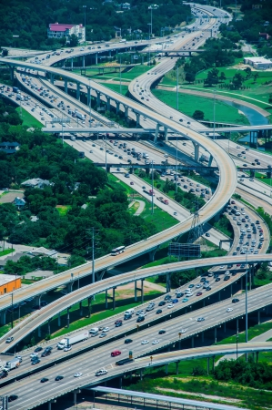 A high view of Houston highways