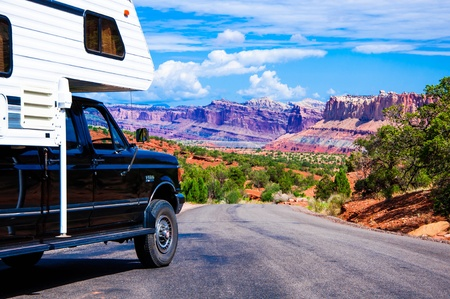 An RV in Capitol Reef National Park, Utah, USA