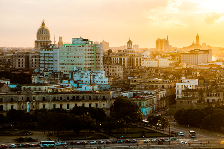 Havana  Habana  in sunset, view from the Morro and Cabana Castles, across the La Habana bay photo
