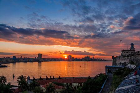 habana: Havana  Habana  in sunset, view from the Morro and Cabana Castles, across the La Habana bay