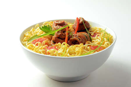 asian noodles: Instant Noodle soup with stewed beef Stock Photo