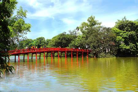 The Huc Bridge is a bridge near Hoan Kiem Lake, Hanoi, the capital of Vietnam