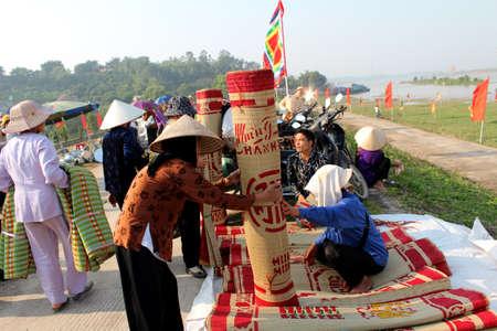 traditonal: market selling bed mats in vietnam Editorial