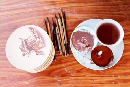 glazes: HAI DUONG, VIETNAM, April 27: Unfired ceramics and glazes on April 27, 2013 in Chu Dau ceramic, Hai Duong, Vietnam.