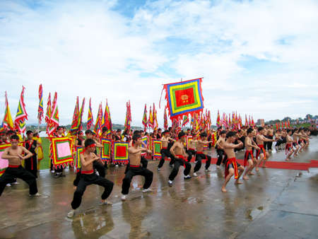 viet vo dao: HAI DUONG, VIETNAM, March 2: The martial arts practitioners performance traditional martial arts on March 2, 2013 in Kiep Bac – Con Son festival, Hai Duong, Vietnam. Name of the martial art is Nhat Nam