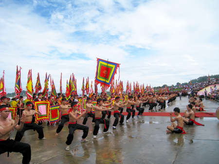 HAI DUONG, VIETNAM, March 2: The martial arts practitioners performance traditional martial arts on March 2, 2013 in Kiep Bac – Con Son festival, Hai Duong, Vietnam. Name of the martial art is Nhat Nam