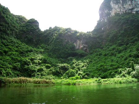 Landscape with moutain and river, Trang An, Ninh Binh, Vietnam  photo