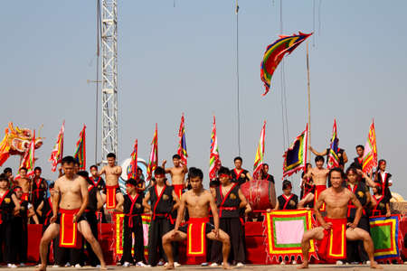viet vo dao: HAI DUONG, VIETNAM, March 2: The martial arts practitioners performance traditional martial arts on March 2, 2013 in Kiep Bac Con Son festival, Hai Duong, Vietnam. Name of the martial art is Nhat Nam