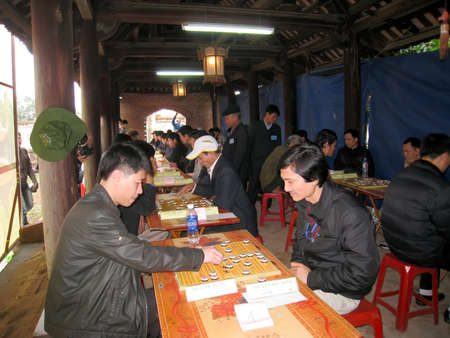 HAI DUONG, VIETNAM, March, 29: players play Chinese chess in Mao Dien traditional festival on March, 29, 2013 in Hai Duong, Vietnam. chess is very popular in Vietnam traditional festivals