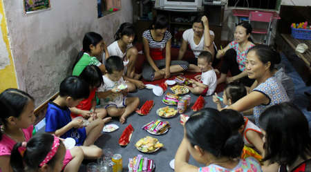 HAI DUONG, VIETNAM, June, 11: birthday party of Asian boy, 8 year old on June, 11, 2013 in Hai Duong, Vietnam.