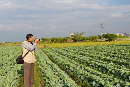 HAI DUONG, VIETNAM, September, 13: reporter take photo in the field on September, 13, 2012 in Hai Duong, Vietnam