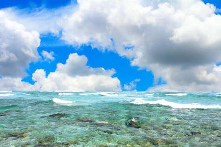horizon over water: clouds