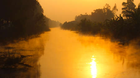 dawn on the river with dew photo