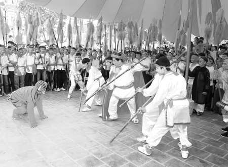 viet vo dao: HAI DUONG, VIETNAM, September, 19: martial arts practitioners performance traditional martial arts on September, 19, 2013 in Hoi Xuyen, Hai Duong, Vietnam. Name of the martial art is La Khoi