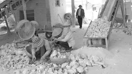 kiln: HAI DUONG, VIETNAM, April 20: workers working in lime kiln on April 20, 2014 in Hai Duong, Vietnam