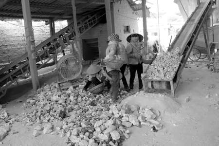 kiln: HAI DUONG, VIETNAM, April 20: workers working in lime kiln on April 20, 2014 in Hai Duong, Vietnam.