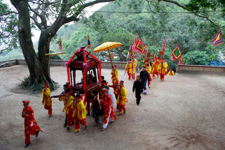 attended: HAI DUONG, VIETNAM, AUGUST, 26: people attended traditional festival on August, 26, 2014 in Hai Duong, Vietnam.
