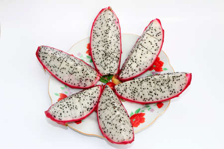 the dragon fruit on plate