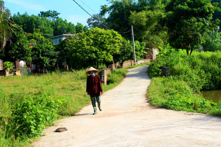 HAI DUONG, VIETNAM, AUGUST, 26: peasant woman with sickle on the road on August, 26, 2014 in Hai Duong, Vietnam