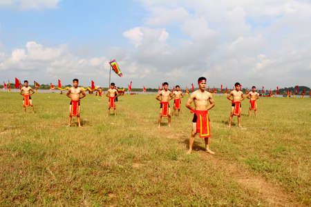 viet vo dao: HAI DUONG, VIETNAM, SEPTEMBER, 10:martial arts practitioners performance traditional martial arts on September, 10, 2014 in Kiep Bac festival, Hai Duong, Vietnam. Name of the martial art is Nhat Nam Editorial