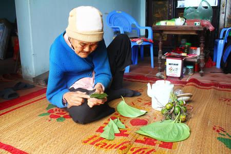 Haiduong, Vietnam, December, 27, 2014: Woman making betel with betel and areca.  Customs of betel chewing is longstanding in Vietnam
