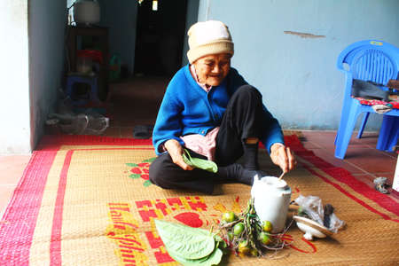 Haiduong, Vietnam, December, 27, 2014: Woman making betel with betel and areca.  Customs of betel chewing is longstanding in Vietnam