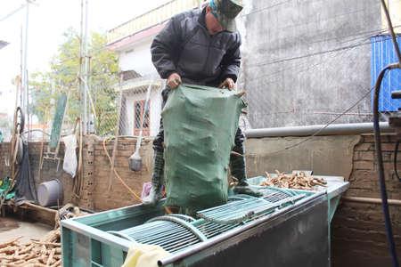 smothered: Haiduong, Vietnam, February, 10: people processing Kudzu flour on February, 10, 2015 in Hai Duong, Vietnam