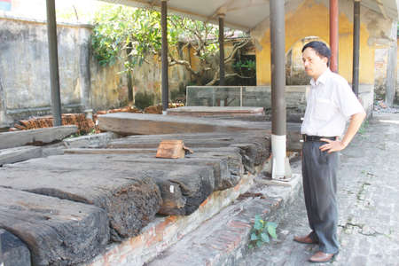 archaeologists: Haiduong, Vietnam, may, 28: Archaeologists and ancient tombs on may, 28, 2015 in Hai Duong, Vietnam