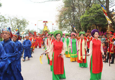 Haiduong, Vietnam, March, 31, 2015: group of people attending traditional festivals