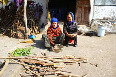 HAI DUONG, VIETNAM, JANUARY, 14, 2015: two old women sing folk songs