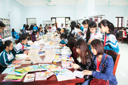 HAI DUONG, VIETNAM, APRIL, 14: Students reading in library on April, 14, 2015 in Hai Duong, Vietnam